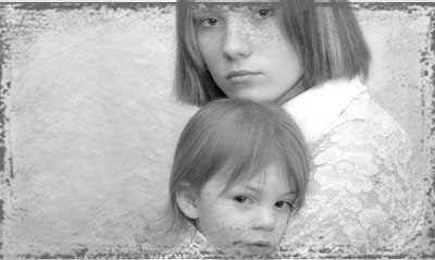 StandUpGirl black and white picture mother with child